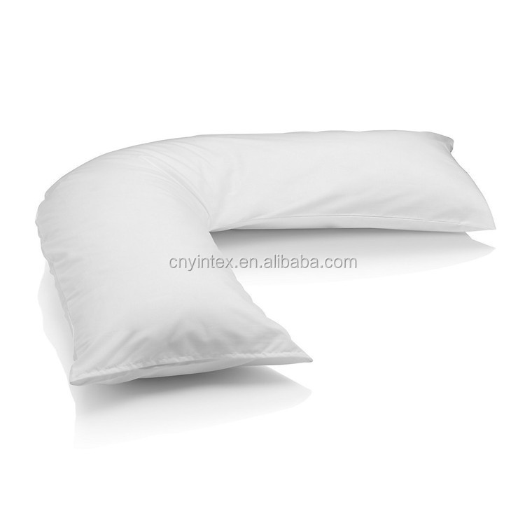 Hypoallergenic Bed Pillow Hug V Shaped White Cotton pillow