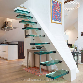 Ordinaire Customized Laminated Glass Treads Floating Staircase Cost For Modern House