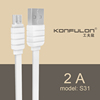 konfulon 2017 usb cable androidl flat data cable micro standard 2A for Android Sam mobile Phone 1.2m electric white