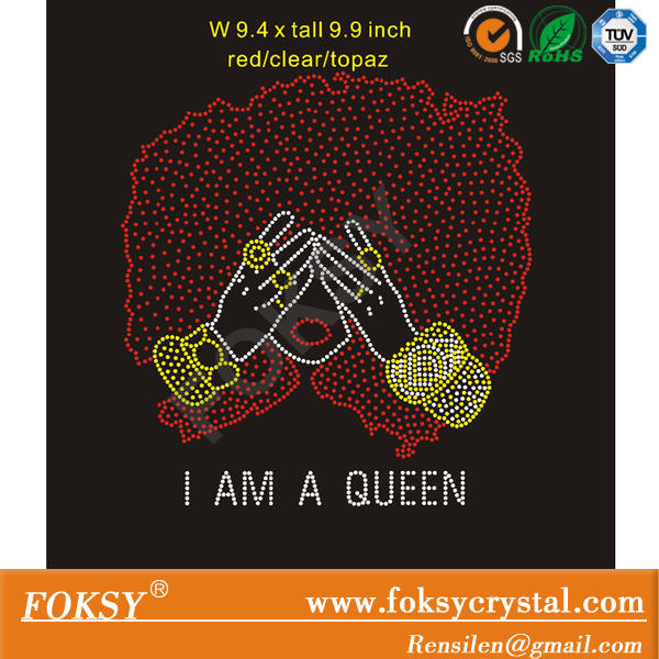 Hotsale Afro Girl hot fix Rhinestone Transfer, custom I am a queen iron on htofix motif