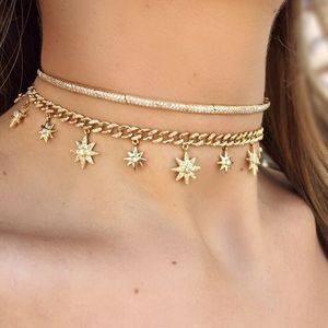 The lastet designs fashion jewelry 18k gold plated star burst drop link choker necklace with zircon stone