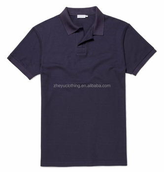 Quick Dry Mens Black Buttonless Golf Sports Polo Shirt With Ribbed Cuff