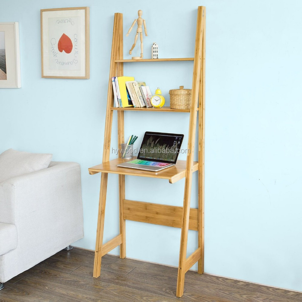 Supply Bamboo Multilayer Bookcase Storage Shelf With Computer Desk