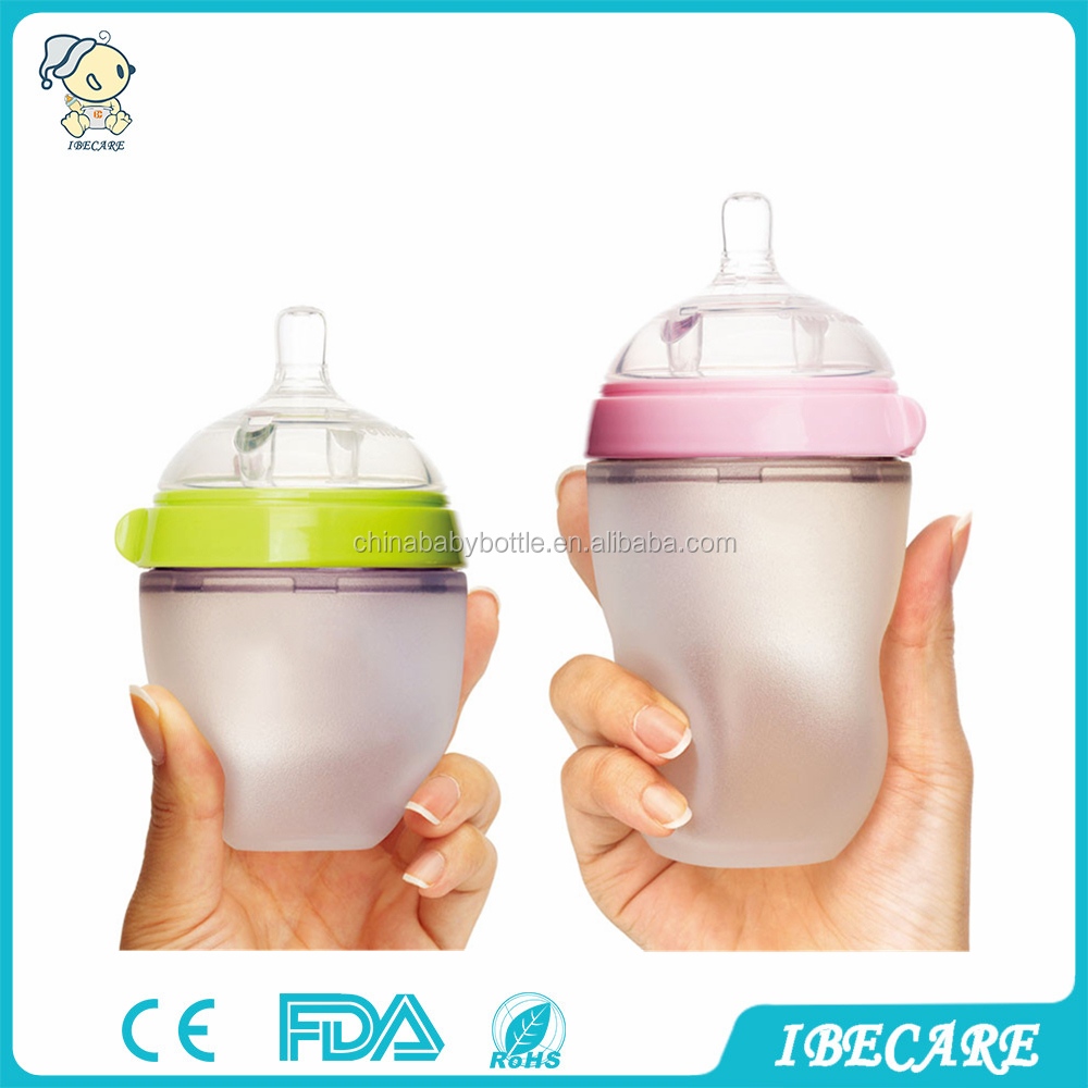 IBECARE hot sell BPA free silicone Brand Baby Bottle silicone feeding Baby Bottle