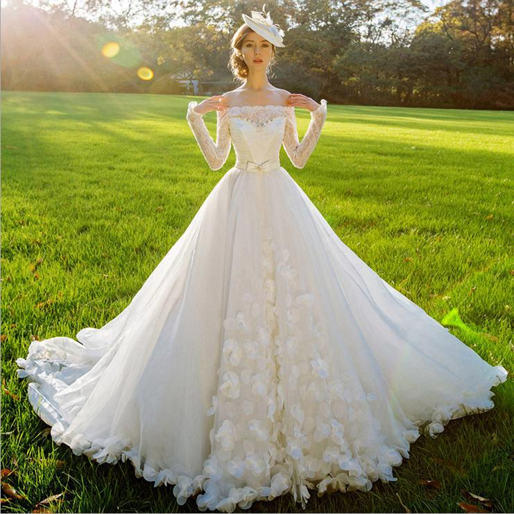 2016 new style european fashionable v neck off shoulder bridal gown lace wedding dress