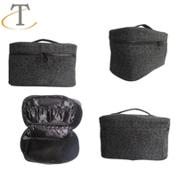 PU cosmetic case with elastic pocket inside