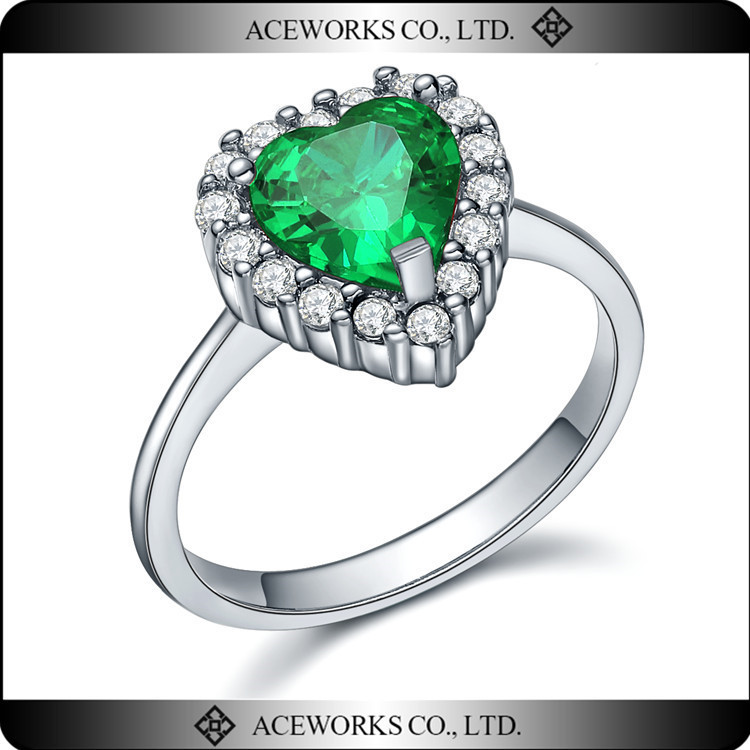 Top Sale Sample Engagement Rings Designs 925 Sterling Silver Emerald