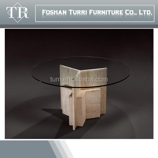 Tapa de cristal redonda moderna base de marmol blanco mesa comedor ...