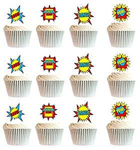 CakeSupplyShop Item#24511 24pk Boys's Super Hero Theme Edible Cake Decoration Toppers