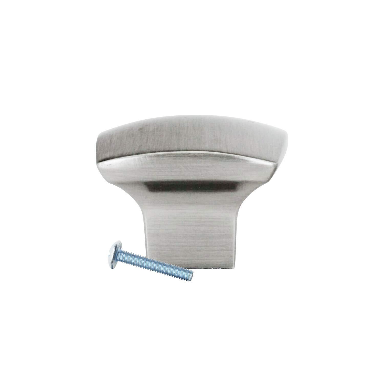 "10 Pack Rok Hardware Zen Dynasty Square Style Brushed Nickel Cabinet Drawer Knob, 1-7/32"" (31mm)"