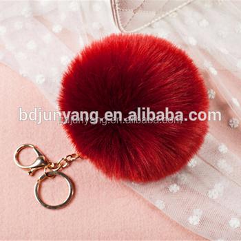 Falso saco pom colorido bola de pele de coelho pom pom para chaveiro e sacos e89b6a36fd5