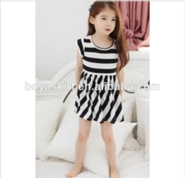 100%cotton famous branded new design baby dress childrens short sleeve dress stripes summer toddlers dress for kids wearing