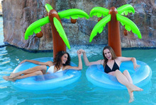 big Inflatable coconut tree swimming rings water floating tube for fun