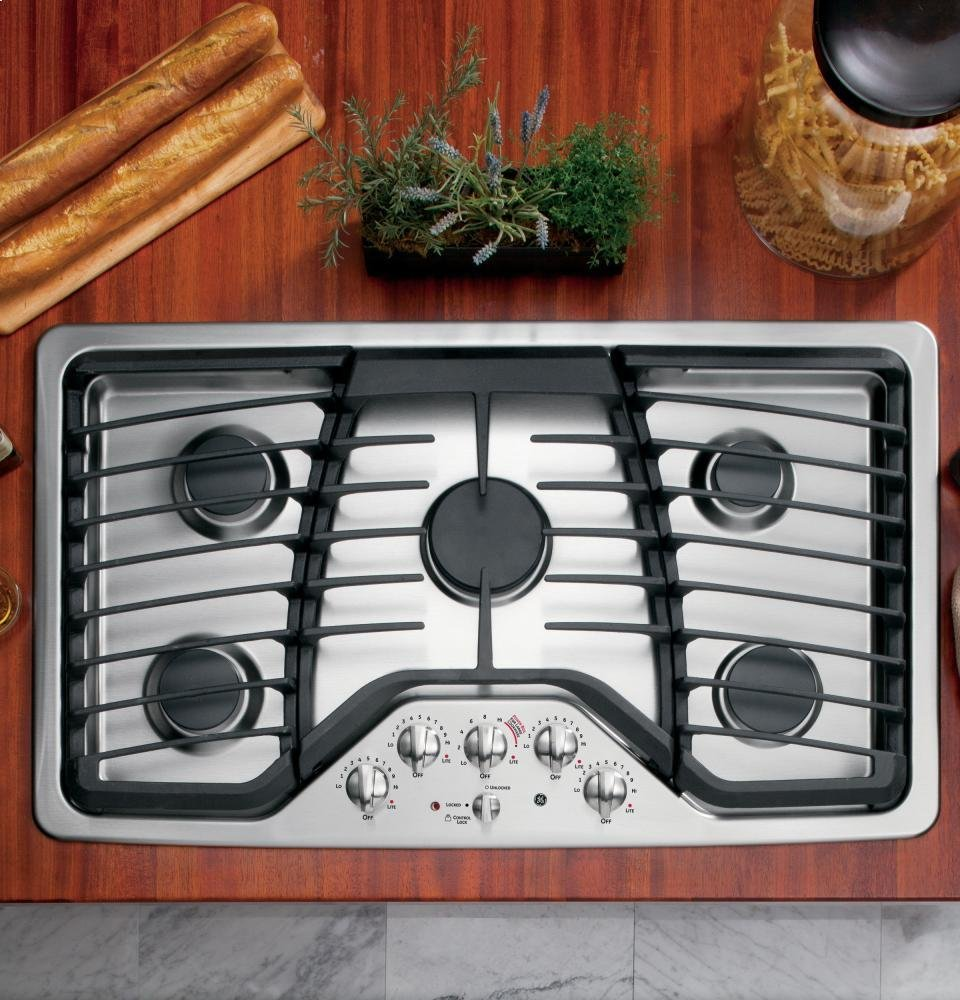 """GE PGP976SETSS Profile 36"""" Stainless Steel Gas Sealed Burner Cooktop"""
