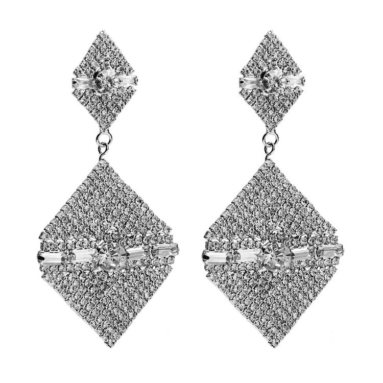 2019 Acrylic Diamond Female Fashion Elegant Rhombus Acrylic Rhinestone Earrings