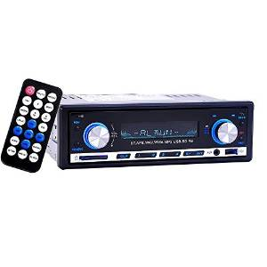 Car Stereo Receiver, JVR Car FM Radio Digital Media Receiver Single DIN In-Dash Stereo Player, Bluetooth Hands-free with Microphone, USB SD MMC Playback, AUX Input, Wire Harness & Remote Control, 12V