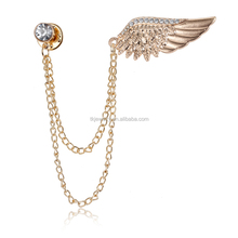 Fashion Double Chain Angel Wings Lapel Brooch Pins Inlay Crystal Corsage Clip Collars Brooches For Women