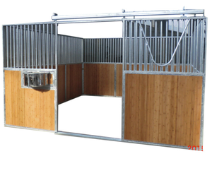 Hot Dip Galvanized Bamboo Horse Stall With Rolling Feeder Board Building Barn Design