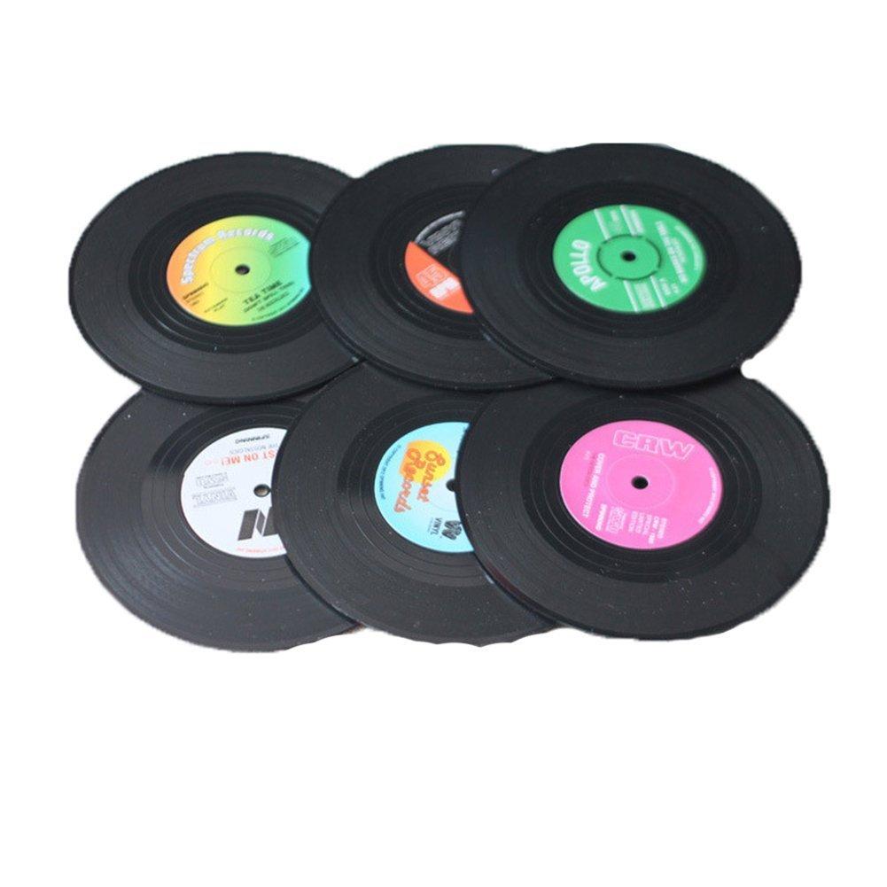 KissH 6 Pcs/set 4 Inch Vintage Silicone Vinyl 45 Record Beverage Coasters