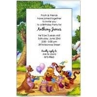 Disney Pooh Piglet Tigger Kanga Baby Birthday Invitations set of 8