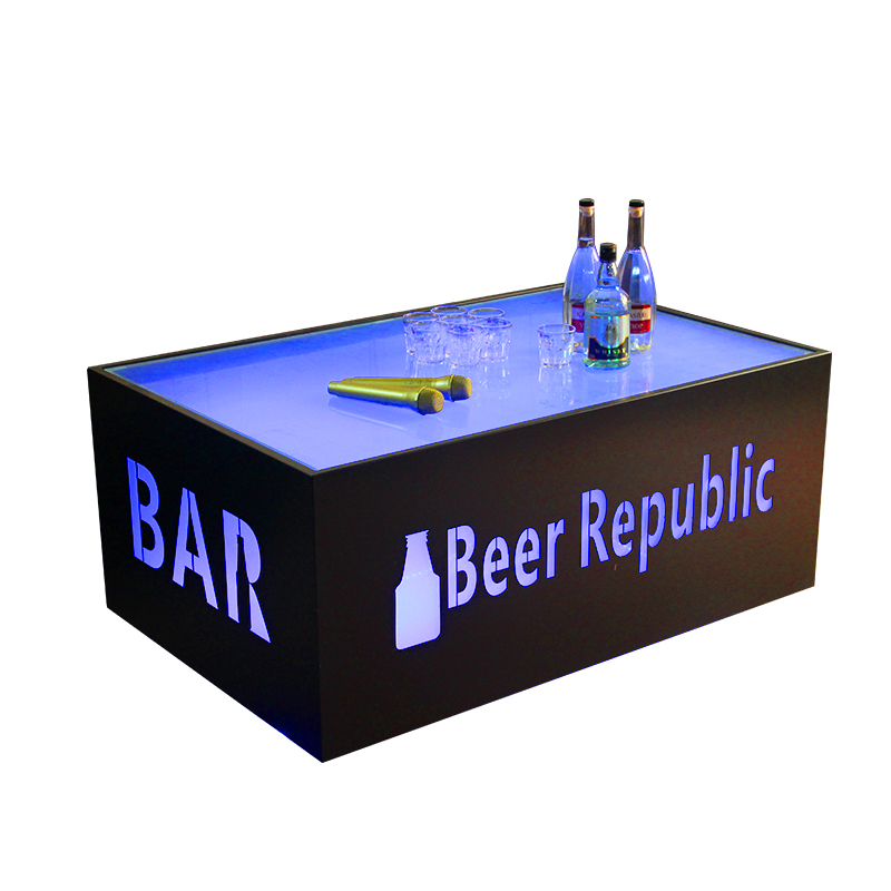 Factory supply luxury ktv night club led long tempered glass bar table