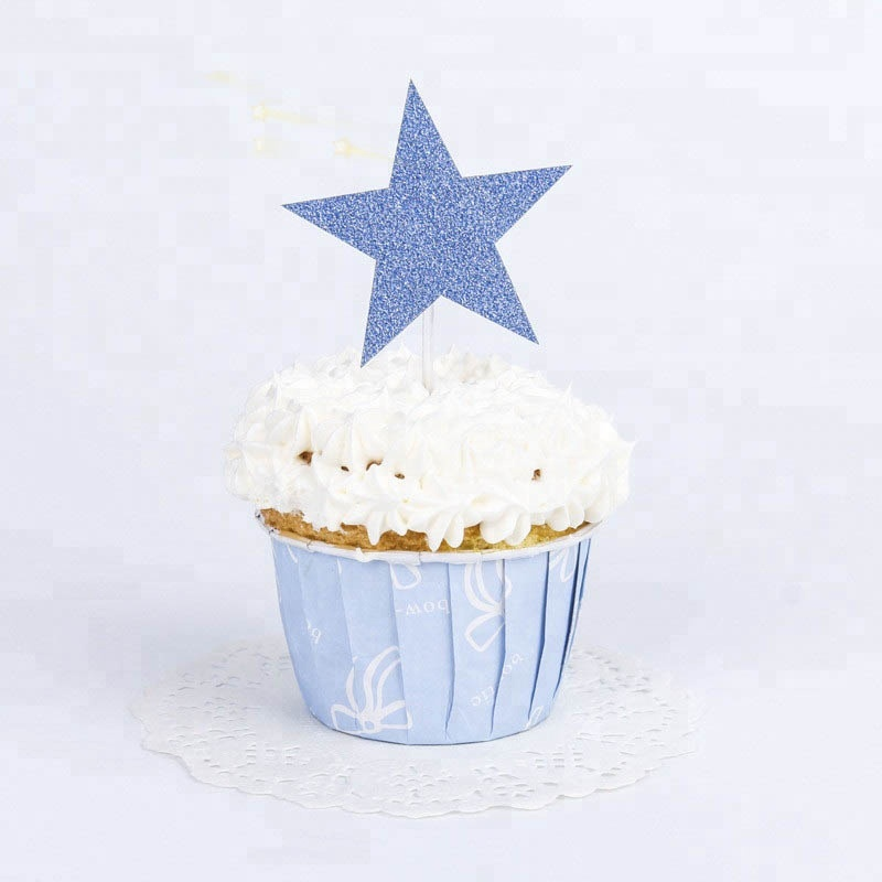 Laser Cut Star Shape Glitter Paper Cake Topper For Birthday Party Decoration
