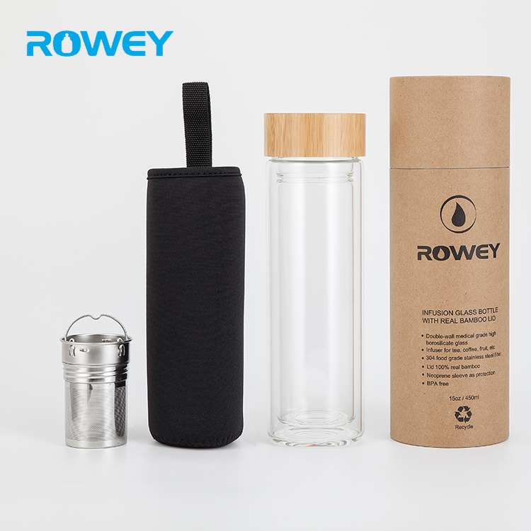 Wholesale bamboo lid double wall borosilicate glass water bottle