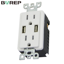 BAS15-2USB Usa style electrical usb wall outlet south america