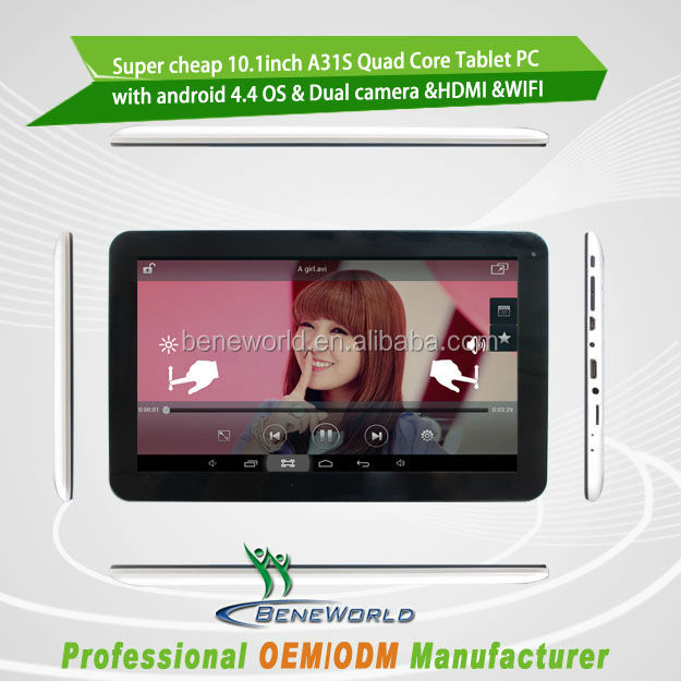 Promotion 10.1'' A31S quad core tablet pc with front and back camera HDMI
