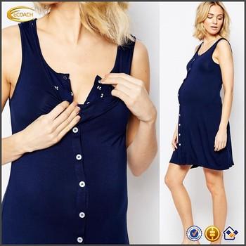 e4a1bf43e12483 Ecoach 2016 Women Scoop neckline Sleeveless Button Front Nursing Nightdress  Wholesale Navy Maternity Lounge Breastfeeding Dress