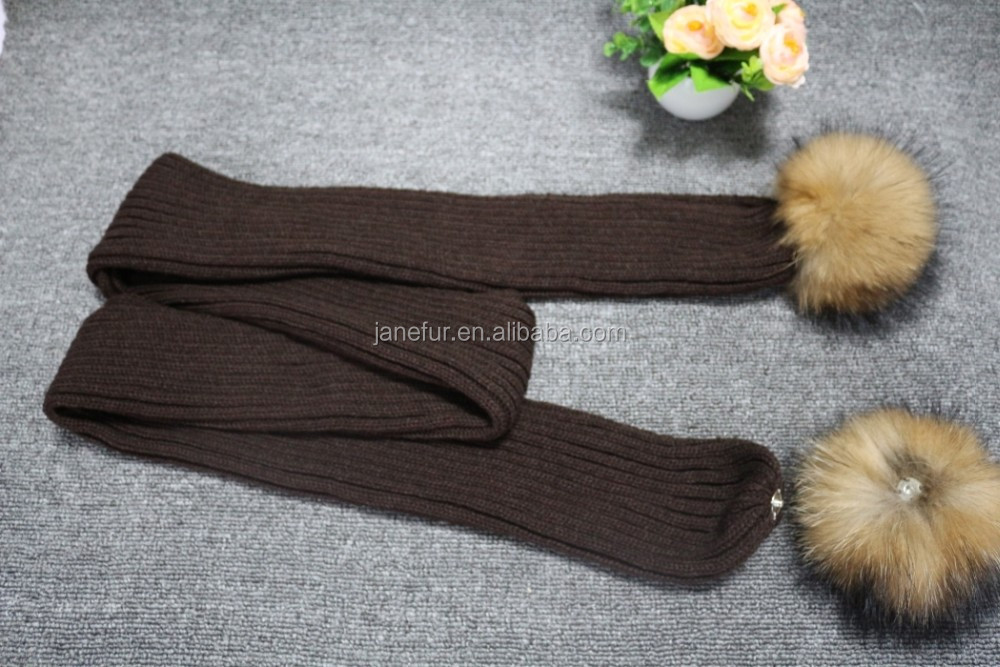 Soft feel knitted scarf raccoon fur pompons decoration acrylic knit striped patterns scarf