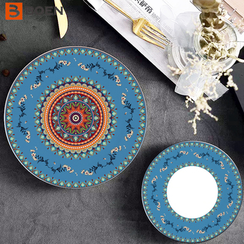 Low Price Bone China Plates Red And White Ceramic Cooking Plate Oval Shaped Plates