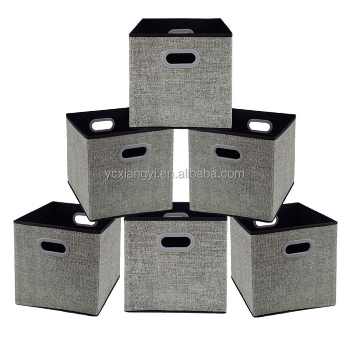 China Houseware Cheap Price Cardboard Foldable Nonwoven Fabric Storage Boxes with Plastic Handle for Bra and Underwear
