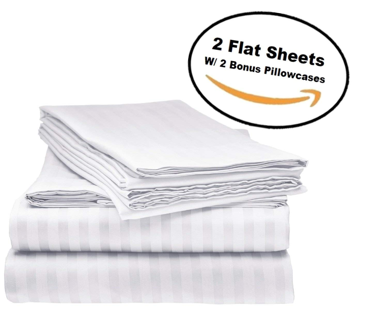 Deluxe 2Pk Flat Bed Sheets - Top Sheet, Soft 1800 Bedding, Highest Quality Brushed Microfiber, Hypoallergenic, Wrinkle, Fade, Stain Resistant - Bonus 2 Free pillowcases - (Full Size White)