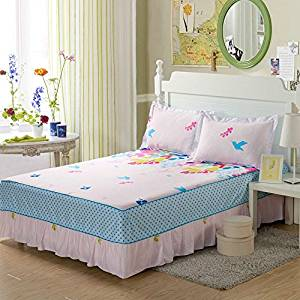 cotton bed skirt with pillowcases bed spread bedclothes for all bed size twin full queen king size for girl's room (Twin size)