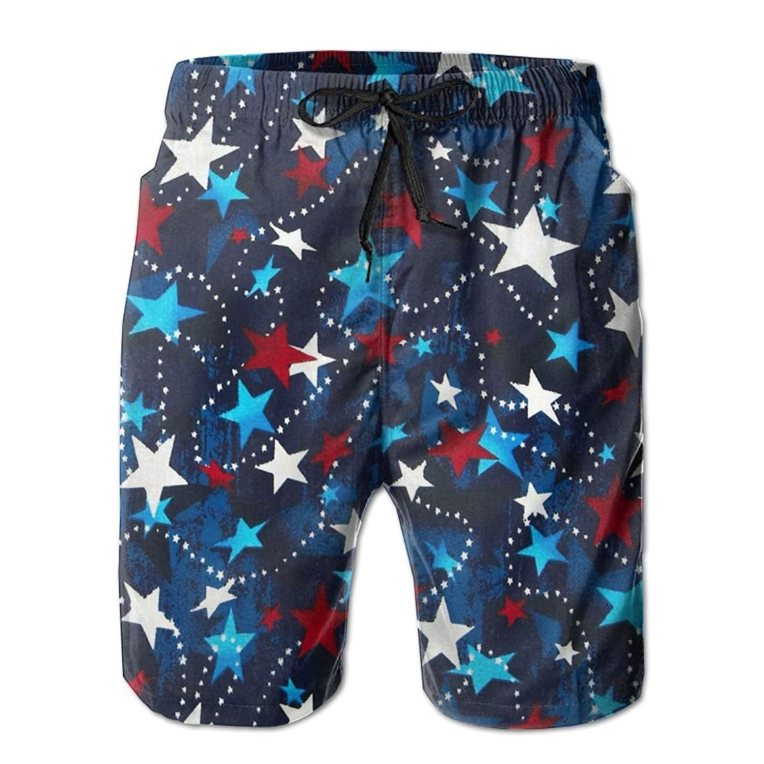 bdca4caed4 Get Quotations · Vt9RE1k Men's Made in The USA Stars Red White Blue Swim  Trunks Beach Elastic Shorts Cotton