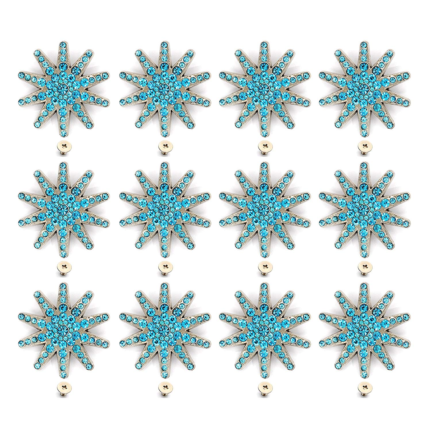 6 pc crystal bling saddle concho set  barrel racer aqua blue  SALE