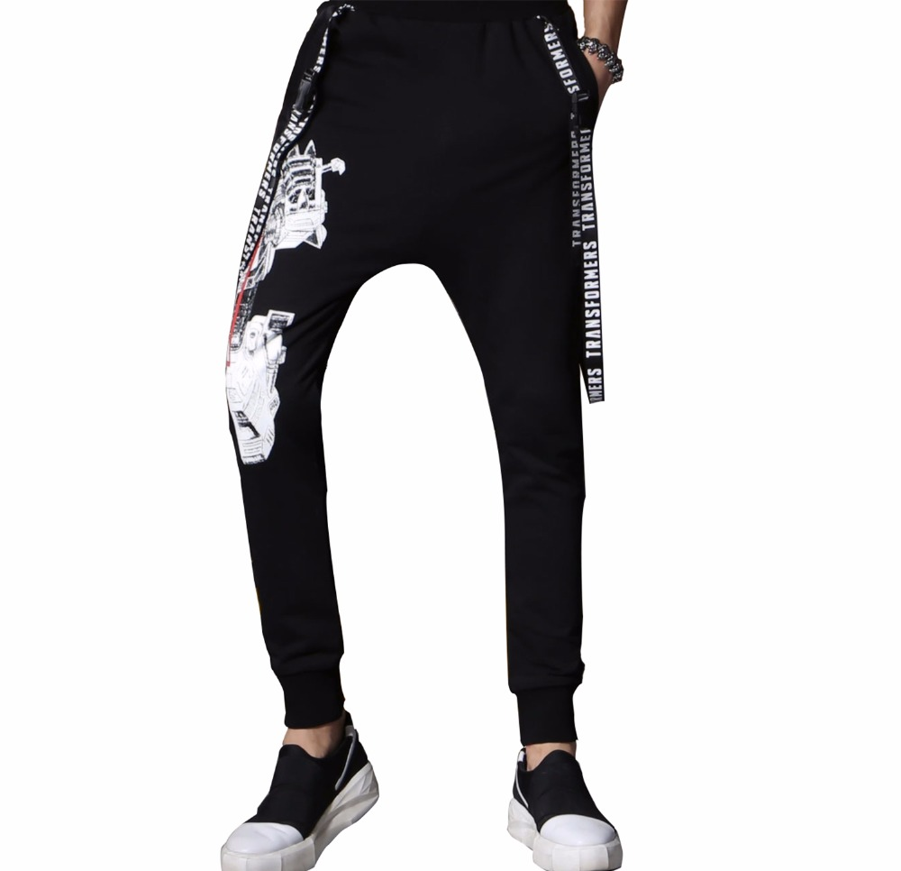 Zwarte Leggings Casual Sport Jogger Broek Slim Fit Custom Print Joggingbroek