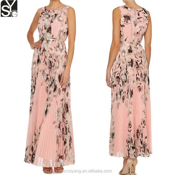 ae1929ac875 Woman Long Dress Pattern New Pleated Pink Floral Print Elegant Chiffon Maxi  Dress