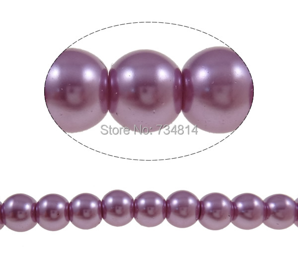 Free shipping!!!Glass Pearl Beads,hot sale, Round, light purple, 8mm, Hole:Approx 1-1.5mm, Length:Approx 31.5 Inch