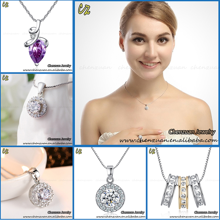 European style crystal stone cubic zirconia pendant necklace luxury jewellery