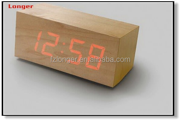 Hot New Products hotel desktop deco wooden digital led alarm clock
