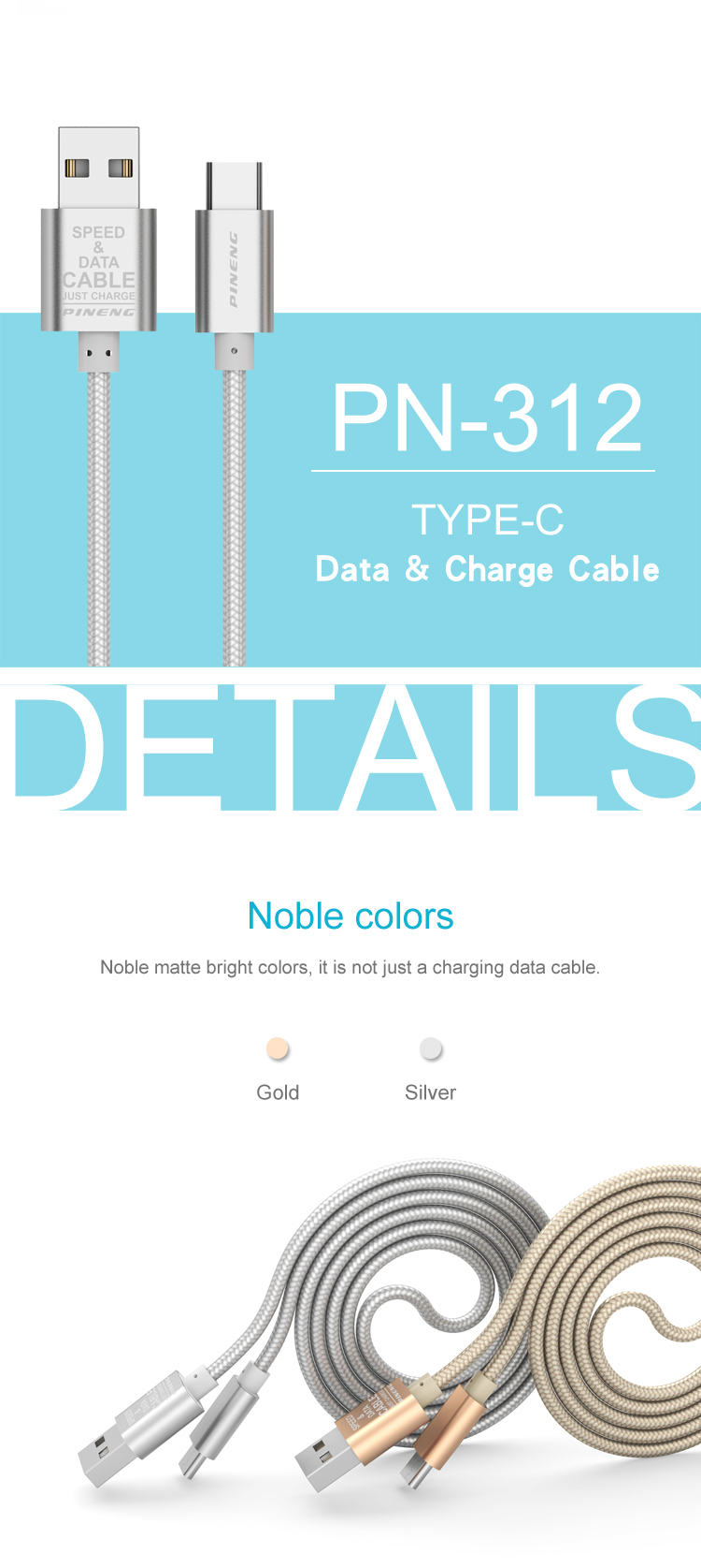 Factory wholesale metal Fast Data Transmit USB data cable for Android