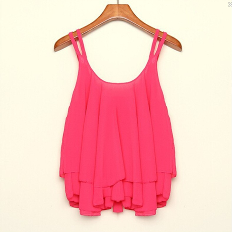 1931 new double-layer chiffon sleeveless Halter sexy blouses vests solid color chiffon shell fabric polyester texture