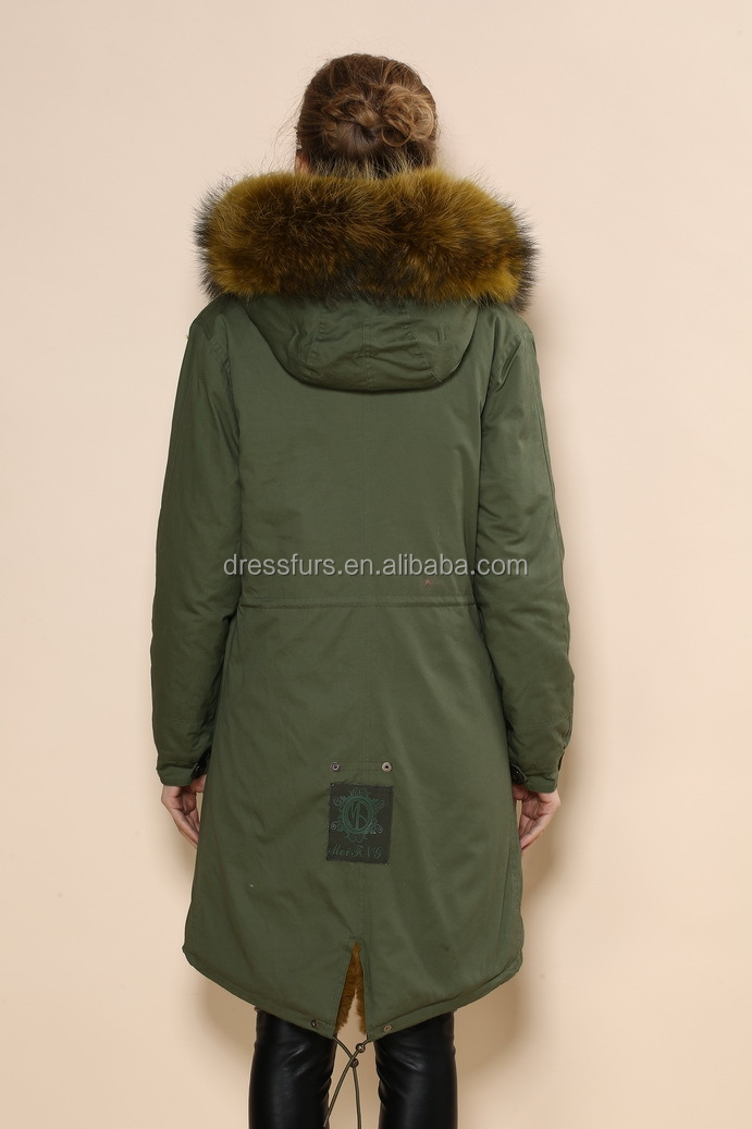 Best Thick Faux Fur Lined Long Length Army Design Green Womens Parka  YM32