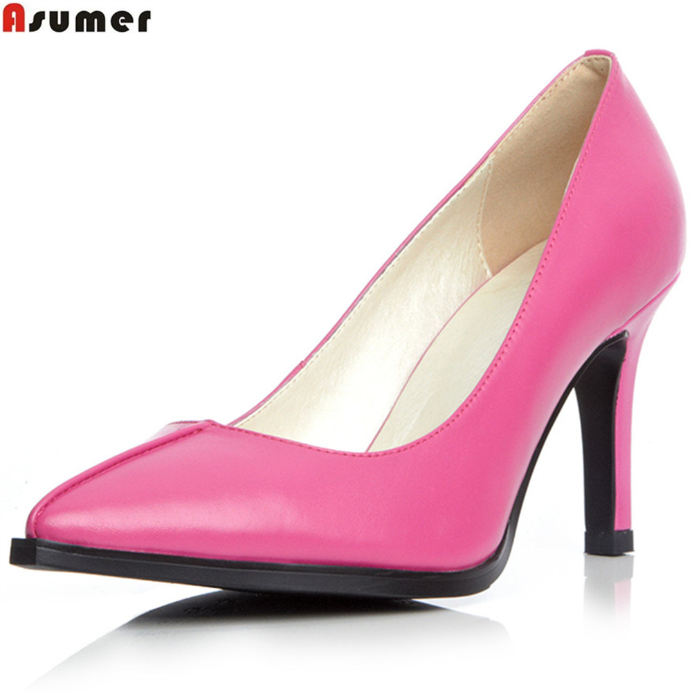 pointed ZY0047 Asumer high genuine toe shoes heels leather GJZ shallow leather pumps women shoes kid qZwwCpET