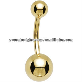 14K solid yellow gold navel ring with two jeweled ball belly jewelry