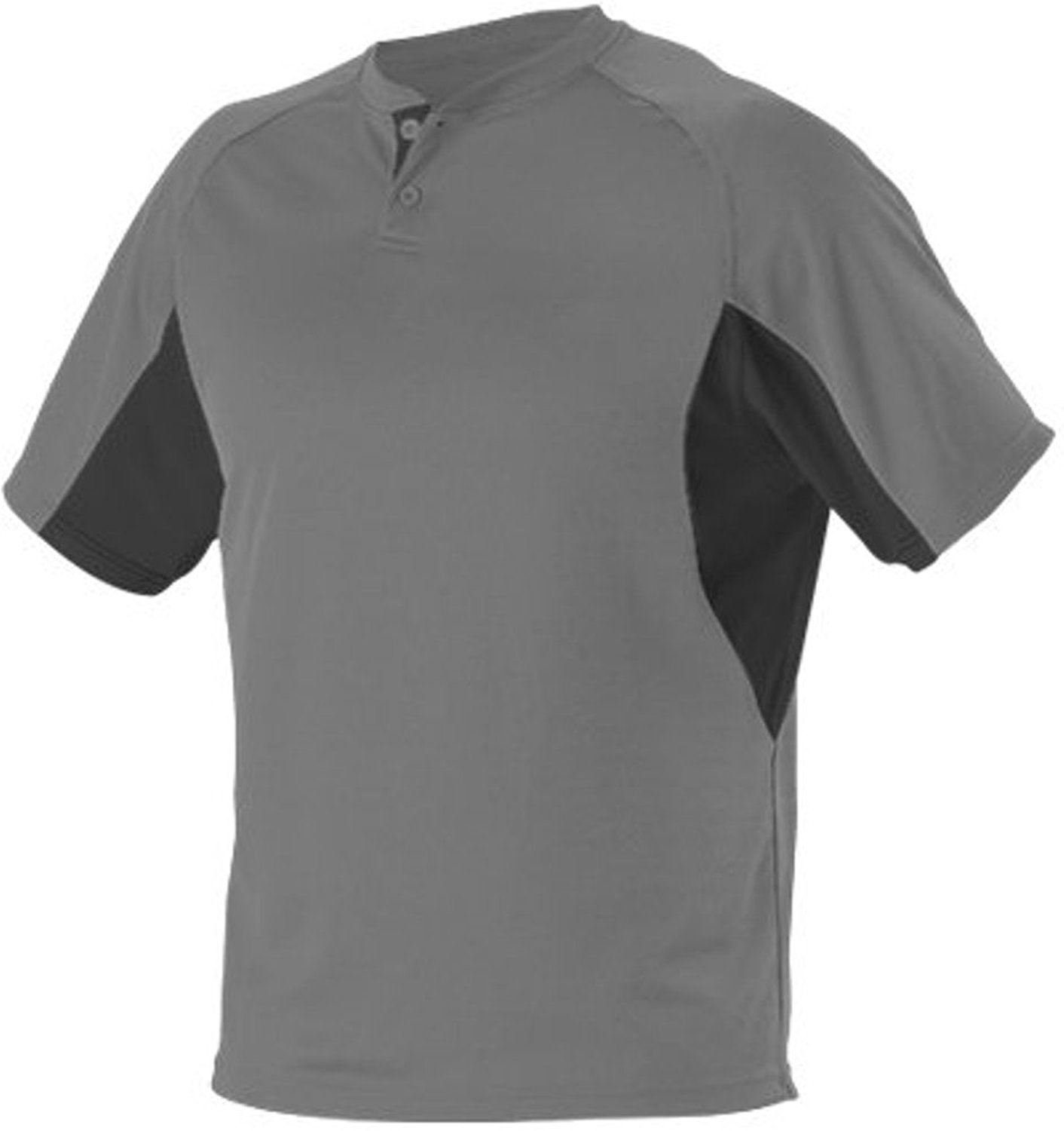 Alleson Baseball Jersey - 2-Button Henley Extreme Mock Mesh - 525 - Adult Medium (M) - Charcoal/Black