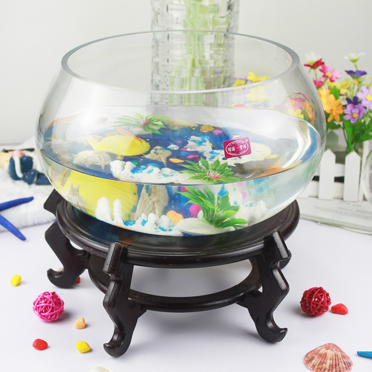 Aquar,Aquariums Fish Tank,Office Table Fish Tank Round Glass Fish ...