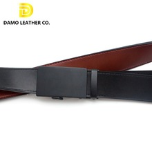 Fashion Brush Buckle Cowhide Leather Belts Automatic Ratchet Belt For Men